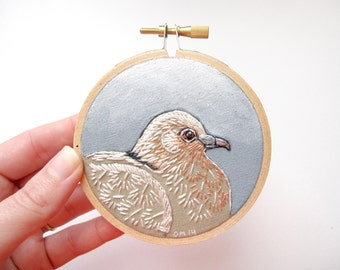 "Dove Hoop Art - Hand Embroidery on a 3"" Hoop"