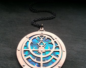 Planispheric Astrolabe Pendant - Handcut oxidised copper, sterling silver and paua shell