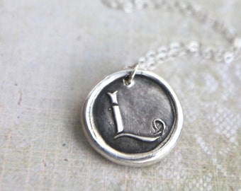 Letter L personalized wax seal necklace hand-stamped from recycled silver