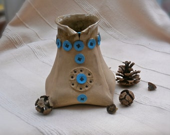 Folk Art vase brown and turquoise - Handmade stoneware vase