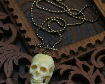 KalakaS Bone carved Skull Long Mens Necklace(hand sculpted,long patined chain)by ISLA bijoux France