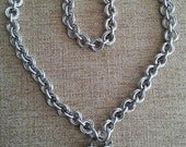 """RESERVED FOR FIACAT! Sterling Silver 18"""" Chainmaille Necklace with Vintage Sterling Silver Heart Padlock Clasp"""
