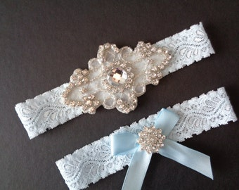 Francesca Wedding Garter French Insprired 3 Colors Rhinestone Center Piece Lingerie Lace  Rhinestone Cluster and Toss