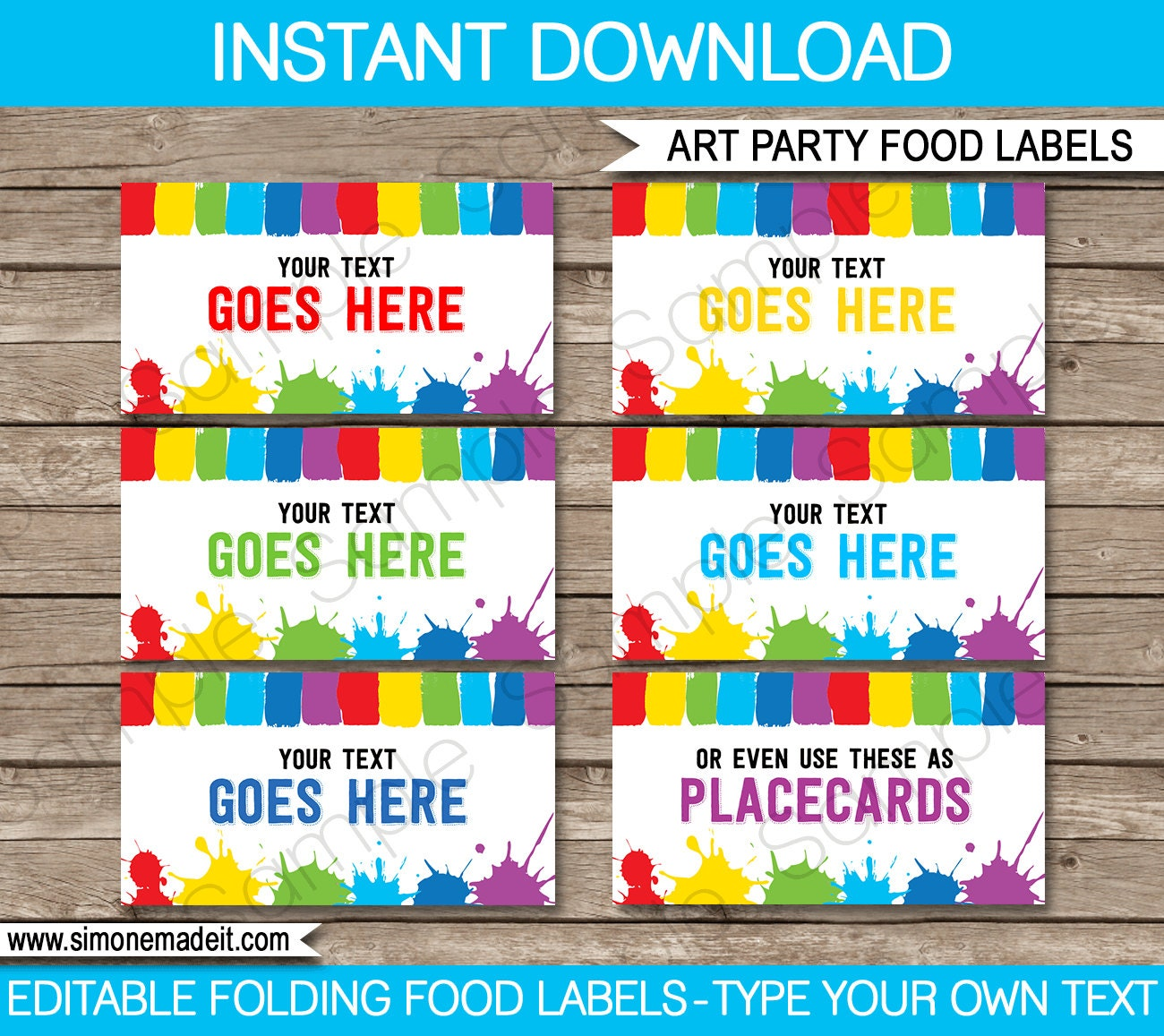 Art Party Food Labels Buffet Tags Tent Cards By SIMONEmadeit