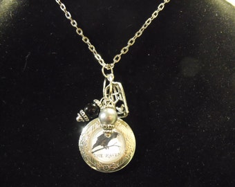 Silver Locket Necklace,    Edgar Allan Poe, The Raven image With Pearls and Charms  Womens Gift Handmade