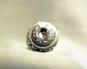 Bullet Ring,  Dirty Harry Nickel 44 Magnum With Clear Rhinestone  Size 7 US  Mens Womens Gift  Handmade