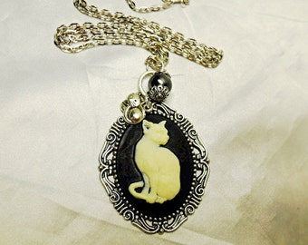 Silver Cameo Necklace,    Cat Cameo With Pearl And Charms  Womens Gift  Handmade