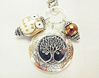 Silver Locket Necklace,   Tree of Life With Brown Porcelain Owl And Pearl  Womens Gift  Handmade