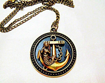 Bronze Pendant Necklace,  Steampunk Nautical  Mermaid and Anchor Necklace  Womens Gift  Handmade