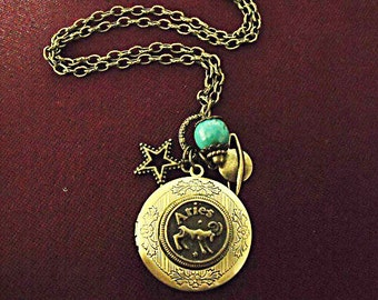 Bronze Locket Necklace,   Zodiac Symbol Aries With Turquoise Bead And Charms  Womens Gift  Handmade