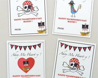 PRINTABLE Pirate Valentine cards for kids - school valentine - instant download - pirates - parrot - ship - heart - jolly roger - boys