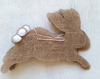 SALE Bunny Rabbit Burlap Bunting for Easter Spring in Khaki Brown Burlap