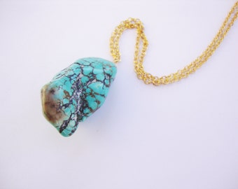 HUGE turquoise howlite nugget necklace
