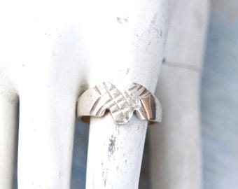 Stylized Initial M Ring in Sterling Silver - Ring Size 9.5