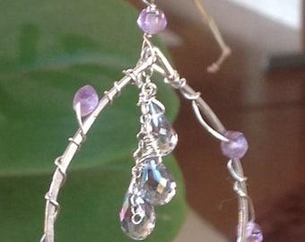 Earrings S Gemstone silver hoop earrings with 10 gemstones