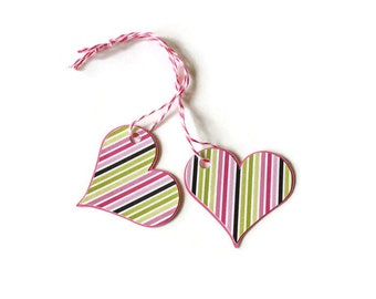 Pink striped heart tags - set of 20 (TCP96)