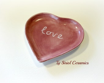 Purple heart ring dish with love message. UK. On sale.