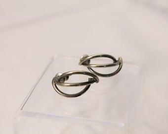 Silver Tone Small Open Design Fashion Earrings - Pierced