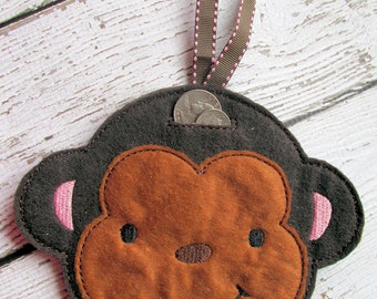 Felt Hanging Monkey Piggy Bank - Unbreakable
