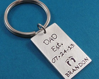 Personalized Keychain - Hand Stamped Keychain -  Personalized Jewelry - Dad Key Chain - Fathers Day Gift Idea - Gift for Dad