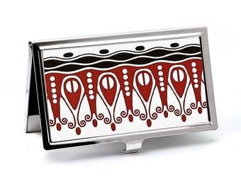 """Art Nouveau Business Card Case, Red and Black """"Bon Voyage"""" Design, Handmade Card Holder, Credit Card Case"""