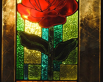 Rose Stained Glass Window Panel  Extra Large Red Amber Turquoise Green