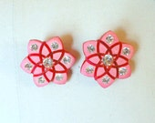 Vintage 60s Earrings Pink and Red Starburst 1960s Vintage Earrings Plastic and Rhinestone Clip On