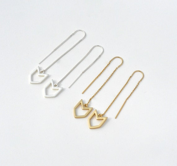 Little Arrow Thread Earrings - 14k Gold Filled or Sterling Silver - SALE