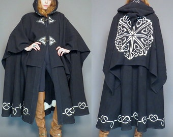 vintage black wool gypsy embroidered celtic cloak // hippie cape // boho poncho // whitchy woman