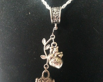 Anatomical Heart and Heart shaped wishbox Silver Necklace