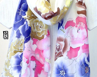 Hand Painted Silk Scarf, White Silk Scarf, Winter White Floral Bouquet Scarf, Pink, Blue, Purple Floral Scarf, Takuyo, 11x60 inches.
