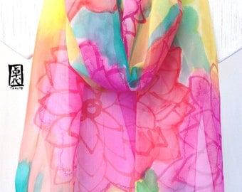 Pink silk scarf Hand painted, ETSY Scarf, Pink Silk Scarf, Rainbow Flower Party Scarf, Silk Chiffon Scarf, Silk Scarves Takuyo, 14x72 inches