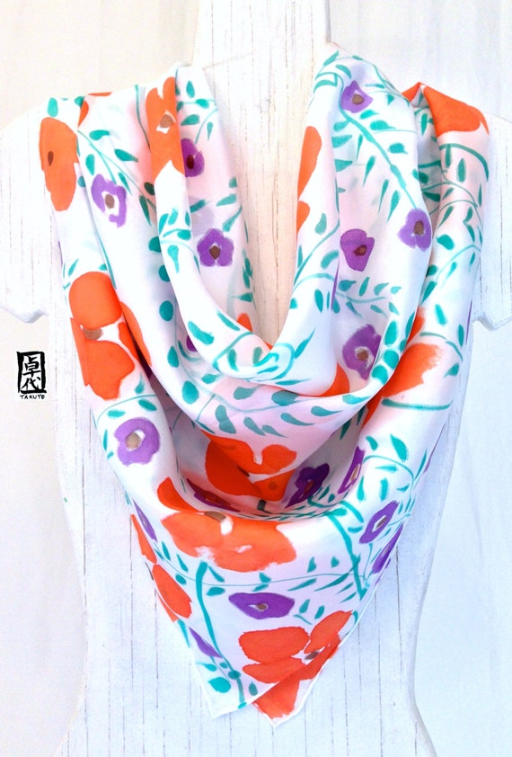 Silk Scarf Square, Hand painted Silk Scarf, Square Scarf, Orange and Purple Wildflowers, Gift for her, Christmas Gift, Takuyo, 35x35 inches.