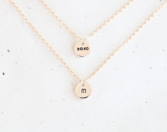 Double Strand Personalized Charm Necklace - two layer 14k gold filled chains with personalized sterling silver disc charms