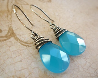 Caribbean Blue Chalcedony Wire Wrapped Earrings - Blue Chalcedony Teardrop Sterling Silver Earrings