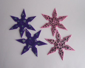 Girly Felt Shurikens--Girly Faux Ninja Throwing Stars