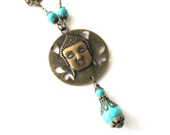 Buddha pendant necklace jewelry howlite turquoise beads vintage style antique brass bronze long necklace blue stone beads, buddha necklace