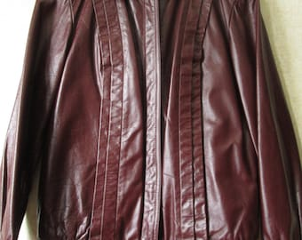 Womens Brown Leather Jacket Vintage 80s 90s bomber jacket chocolate brown hipster grunge pleated front Tibor women small