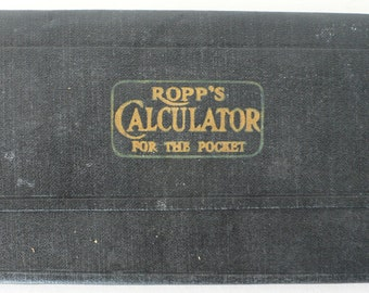 vintage Calculator for the Pocket, Ropp's, facts and figures, black book, from Diz has Neat Stuff
