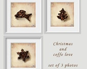 Christmas coffee, Coffee love, set of 3 coffee prints, Kitchen art, Coffee shop decor, coffee snowflake, coffee tree, coffee fish,