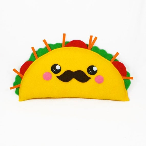 taco kawaii plushie plush toy novelty humor cushion by