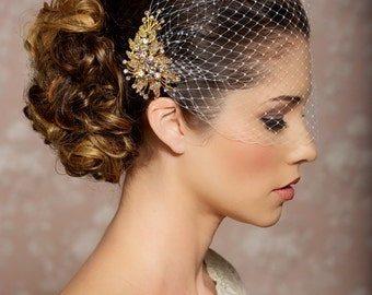 Bridal Veil and Gold Bridal Comb, Bandeau Birdcage Veil, Gold Blusher Bird Cage Veil - QUICK SHIPPER - Detachable gold crystal comb