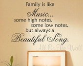 Family Wall Decal Vinyl Lettering Saying Music Song Home Wall Art Decor Decals Stickers