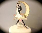 Custom Portrait Wedding Cake Topper - Art Deco - Vitnage Wedding - Hand Painted - Personalized