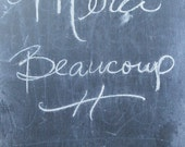 Merci Beaucoup, quote on photo, French print, Thank you gift, oversized art, oversized print, French canvas, chalkboard photo
