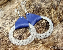 Nordic Viking Jewelry ASGARD Swedish Lapland Sami Earrings in Blue Reindeer Leather and finest braided Pewter Wire Thread