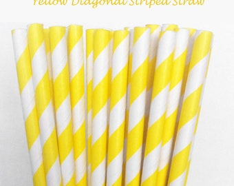 Yellow Striped Paper Straws (S06) with free printable DIY Toppers - Pack of 25 or 50 Straws