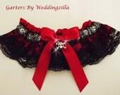 Skull  Wedding  Garter,  Black Lace Garter,   Prom Garter,   Dance Garter,  Skull Garter Belt