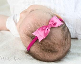 Hot Pink Classic Ribbon Bow Headband OR Clip -  Classic Bow -  Satin Hot Pink  Bow Handmade Headband - Infant to Adult Headband