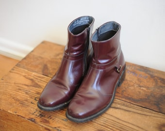 Vintage Stuart McGuire Burgundy Patent Leather Zip Up Beatles Boots mens 8 1/2